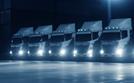 five huge trucks